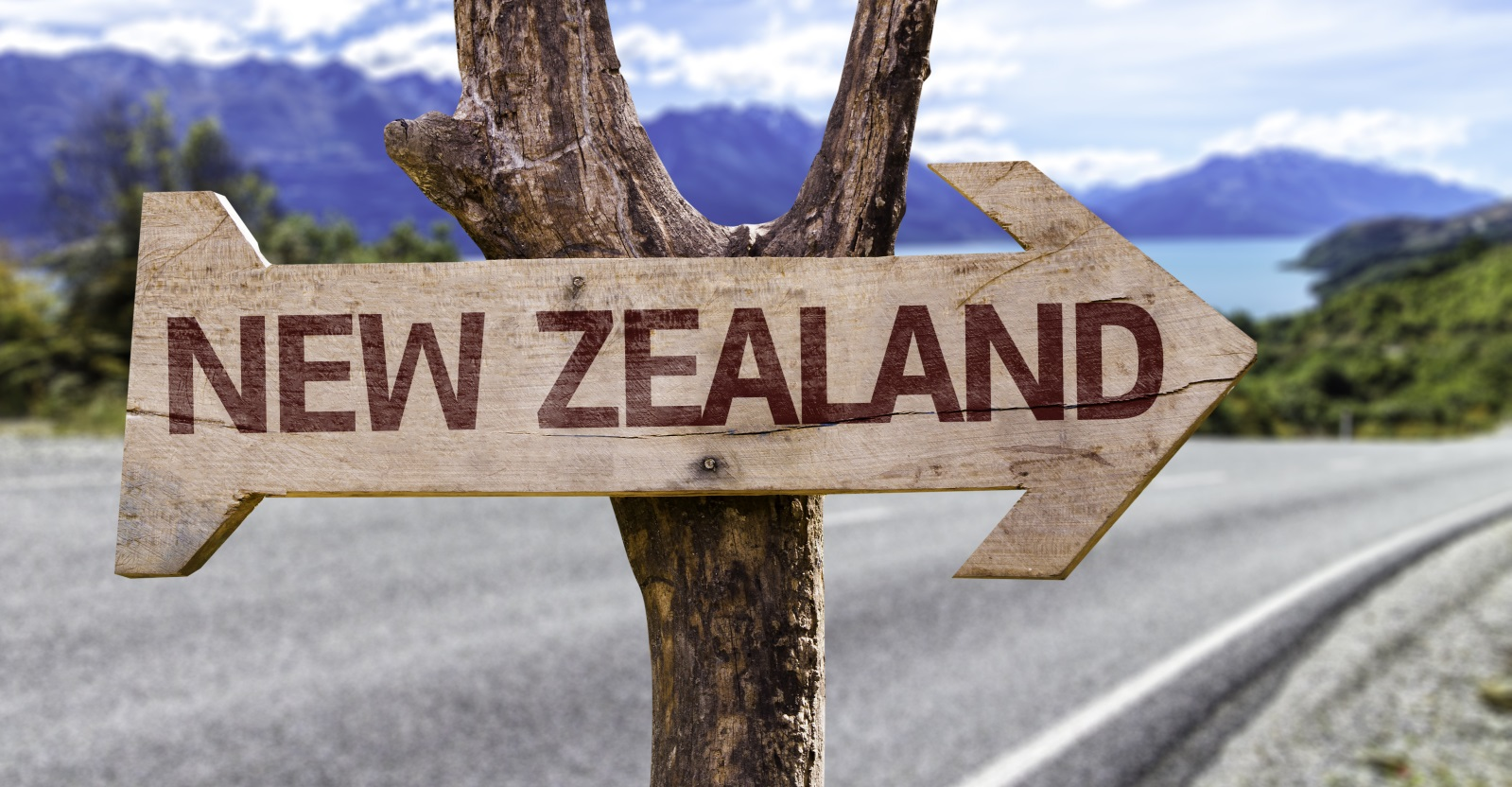 New Zealand sign on a rural road