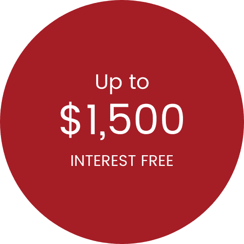 Up to $1,500 interest free