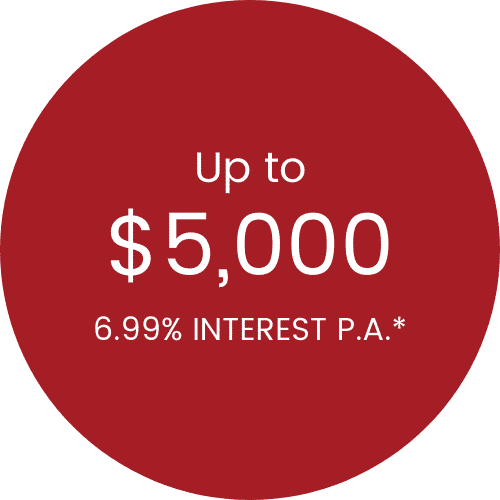Up to $5,000 6.99% interest p.a.