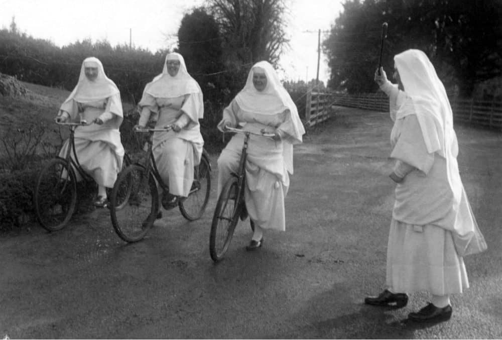 Picture of Sisters on bikes CHCH, ANZAC Day 1962 Bicycle race