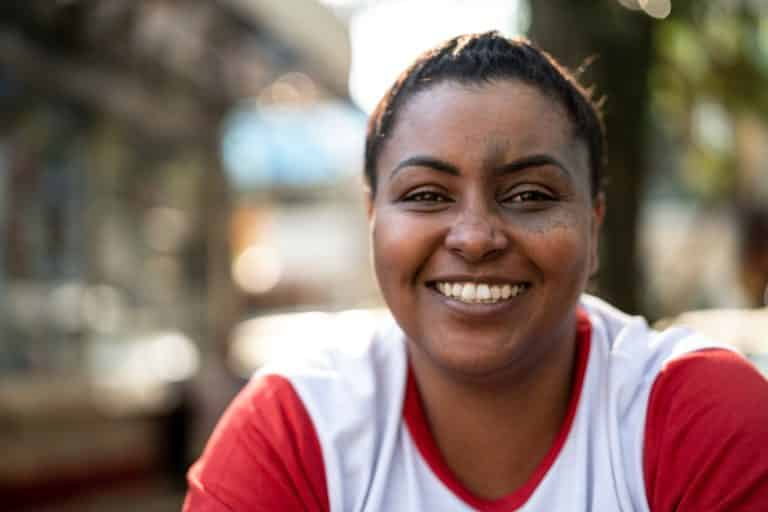 Close-up of Brazilian Afro Woman Portrait