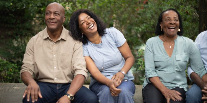 Afro hispanic family together in the park